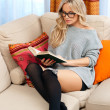 Attractive woman with book — Stockfoto