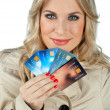 Woman with credit cards — ストック写真