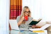 Vrouw die op laptop thuis werkt — Stockfoto