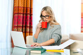 Woman working on laptop at home — Stockfoto