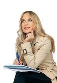 Kvinna skriva notebook — Stockfoto