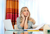 Attractive woman writer thinking — Stock Photo