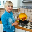 Woman cook vegetable — Stock Photo #19681003