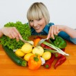 Stock Photo: Womwith vegetables