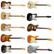 Collection of classic electric guitars — Stock Photo
