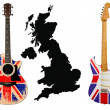 Guitars with british flag - Stock Photo