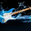 Blue electric guitar — Stock Photo