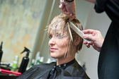 Woman having haircut — Stock Photo