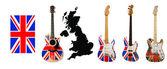 Gitara z flagi brytyjskiej — Zdjęcie stockowe