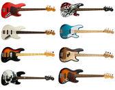 Coleção de guitarras baixo — Foto Stock