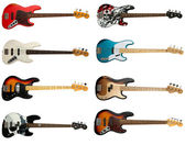Collection of bass guitars — Stock Photo