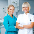 Woman dentist with her assistant — Stock Photo #19719507