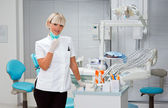 Woman dentist with mask — Stock Photo