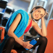 Stock Photo: Womin gym relaxing