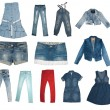Collection of various types of jeans — Foto de Stock