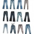 Collection of various types of jeans — Foto Stock