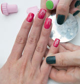 Stamping finger nails — Stock Photo