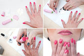Nail stamping precudure — Stock Photo