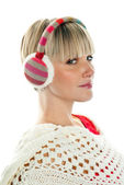 Woman in winter clothes with earmuff — Stock Photo