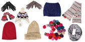 Collection of winter hats, gloves, and scarfs — Stock Photo