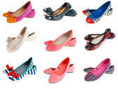 Collection of woman summer shoes — Stock Photo