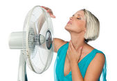 Woman cooling herself — Foto Stock