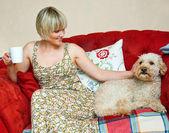 Woman and dog on sofa — Stock Photo