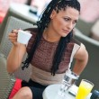 Stock Photo: Womdrinking coffee