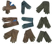 Collection of woman leather gloves — Stock Photo