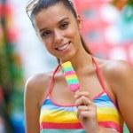 Woman with ice cream — Stock Photo #20340483