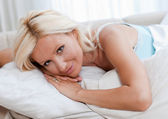 Attractive woman in bed — Stock Photo