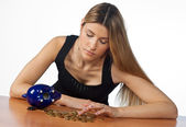 Woman counting money — Stock Photo