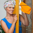 Happy housewife — Stock Photo