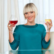Woman with glass of red and white wine — Stock Photo #20438225