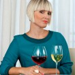 Woman with glass of red and white wine — Stock Photo