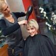 Stockfoto: Stylist drying woman hair