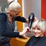 Stylist drying woman hair — Stock Photo #20447987