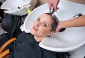 Washing hair — Stock Photo
