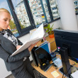 Business woman with documents — Stock Photo