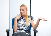 Woman making apologising expression — Stock Photo