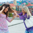 Two woman fight each other — Foto Stock