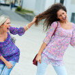 Two woman fight each other — Stock Photo