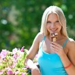 Woman with icecream — Stock Photo