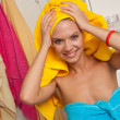 Teen girl in bathroom — Stock Photo