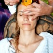 Woman having facial treatment — Stock Photo