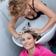 washing hair — Stock Photo