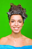 Woman with shampoo in her hair — Stock Photo