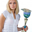 Woman with trophy full of money — Stock Photo #22201129