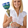 Woman holding trophy — Stock Photo