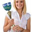 Woman holding trophy — Stock Photo #22201357